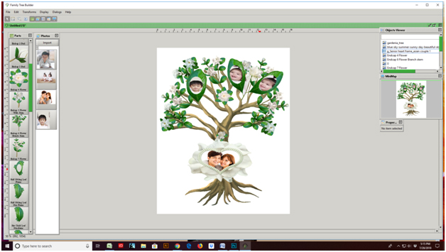 Gardenia Tree decorated, Family Tree Template